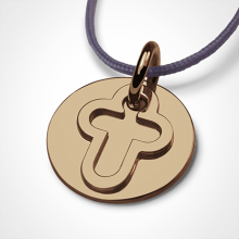 I BELIEVE CROSS pendant in 750 yellow gold by the jewellery collection for children MIKADO.