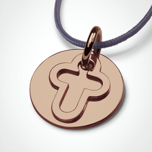 I BELIEVE CROSS pendant in 750 pink gold by the jewellery collection for children MIKADO.
