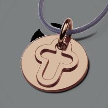 Médaille de baptême I BELIEVE CROIX en or rose 750 millièmes et cordon lavande de la collection de bijoux pour enfants MIKADO.