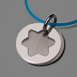 Médaille de baptême I BELIEVE ETOILE en argent 925 millièmes et cordon menthe de la collection de bijoux pour enfants MIKADO.
