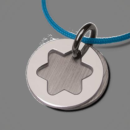 Medalla de bautismo CREO ETOILE de plata 925 milésimas y cordón de menta de la colección de joyas para niños MIKADO.