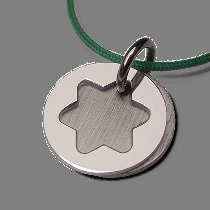 Medalla de bautismo CREO ÉTOILE en oro blanco 750 milésimas rodiadas de la colección de joyas para niños MIKADO.