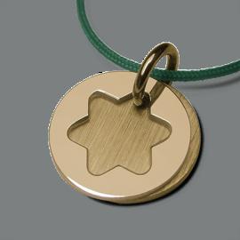 Médaille de baptême I BELIEVE ÉTOILE en or jaune 750 millièmes et cordon menthe de la collection de bijoux pour enfants MIKADO.