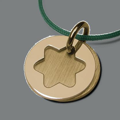 Medalla de bautismo CREO ÉTOILE en oro amarillo 750 milésimas y cordón de menta de la colección de joyas para niños MIKADO.