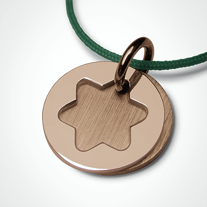 Médaille de baptême I BELIEVE ÉTOILE en or rose 750 millièmes et cordon menthe de la collection de bijoux pour enfants MIKADO.