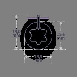Dimensiones de la medalla de bautismo I BELIEVE STAR de la colección de joyería infantil MIKADO.