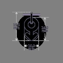 Dimensions du pendentif de baptême SEX SYMBOL BOY de la collection de bijoux pour enfants MIKADO.