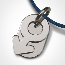 SEX SYMBOL BOY pendant in 750 white gold by the jewellery collection for children MIKADO.
