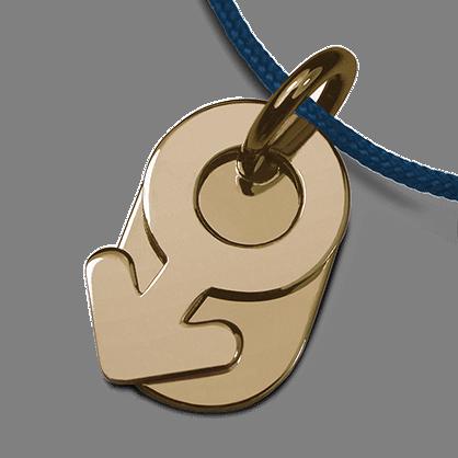 Pendentif de baptême SEX SYMBOL BOY en or jaune 750 millièmes et cordon océan de la collection de bijoux pour enfants MIKADO.