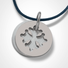 Medalla de bautismo CROTZ en oro blanco 750 milésimas de la colección de joyas para niños MIKADO.
