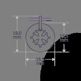Dimensions de la médaille de baptême CROTZ de la collection de bijoux pour enfants MIKADO.