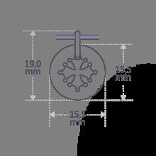 Dimensiones de la medalla de bautismo CROTZ de la colección de joyas infantiles MIKADO.