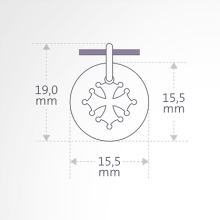 Dimensions of the CROTZ pendant from MIKADO jewellery for kids.