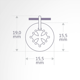Dimensions of the Engraving of the CROTZ pendant from MIKADO jewellery for kids.