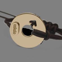 Bracelet DISCO BOY en or jaune 750 millièmes et cordon chocolat de la collection de bijoux pour enfants MIKADO.