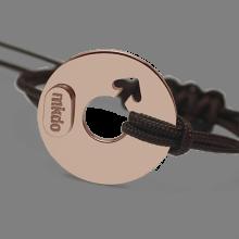 Bracelet DISCO BOY en or rose 750 millièmes et cordon chocolat de la collection de bijoux pour enfants MIKADO.