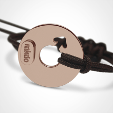 DISCO BOY bracelet in 750 pink gold and chocolate cord by the jewellery collection for kids MIKADO.