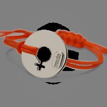 Bracelet DISCO GIRL en argent 925 millièmes rhodié et cordon mandarine de la collection de bijoux pour enfants MIKADO.