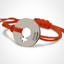 DISCO GIRL bracelet in silver and mandarin cord from the MIKADO children's jewellery collection.