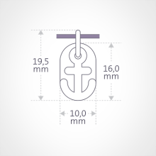 Dimensions de la médaille de baptême POPEYE de la collection de bijoux pour enfants MIKADO.