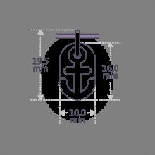 Dimensiones del colgante de bautizo POPEYE de la colección de joyería infantil MIKADO.