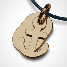 POPEYE anchor pendant in 750 yellow gold by the jewellery collection for children MIKADO.