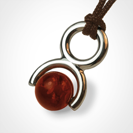 ROLLING STONE pendant in 925 sterling silver and amber by the jewellery collection for children MIKADO.