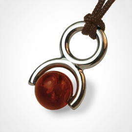 ROLLING STONE pendant in 750 white gold and amber by the jewellery collection for children MIKADO.