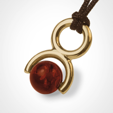 ROLLING STONE pendant in 750 yellow gold and amber by the jewellery collection for children MIKADO.