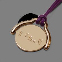 Colgante móvil ENIGMA en oro amarillo 750 milésimas y cordón púrpura de la colección de joyas infantiles MIKADO.