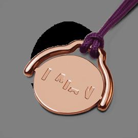 Pendentif mobile ENIGMA en or rose 750 millièmes et cordon violette de la collection de bijoux pour enfants MIKADO.