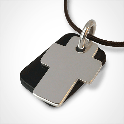 GOSPEL pendant in 750 white gold and natural horn by the jewellery collection for children MIKADO.