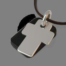 Medalla de bautismo GOSPEL en oro blanco rodiado de 750 milésimas, cuerno natural y cordón de chocolate de la colección MIKADO.