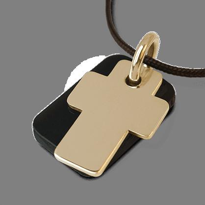 Medalla de bautismo GOSPEL en oro amarillo 750 milésimas, cuerno natural y cordón de chocolate de la colección MIKADO.