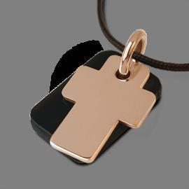 Médaille de baptême GOSPEL en or rose 750 millièmes, corne naturelle  et cordon chocolat de la collection MIKADO.