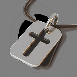 Médaille de baptême HALLELUJAH en argent 925 millièmes, corne naturelle et cordon chocolat de la collection MIKADO.