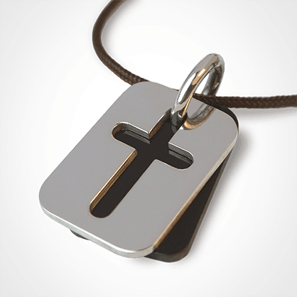 HALLELUJAH pendant in 750 white gold and natural horn by the jewellery collection for children MIKADO.