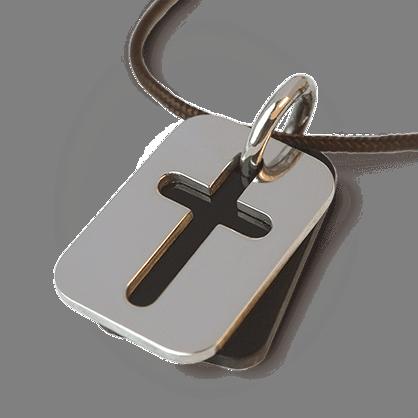 Médaille de baptême HALLELUJAH en or blanc 750 millièmes rhodié, corne naturelle et cordon chocolat de la collection MIKADO.