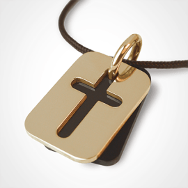 HALLELUJAH pendant in 750 yellow gold and natural horn by the jewellery collection for children MIKADO.