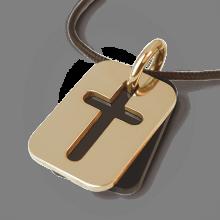 Medalla de bautismo HALLELUJAH en oro amarillo 750 milésimas, cuerno natural y cordón de chocolate de la colección MIKADO.