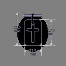Dimensiones de la medalla de bautismo HALLELUJAH de la colección de joyas infantiles MIKADO.