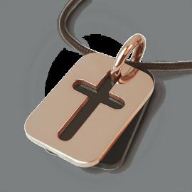 Medalla de bautismo HALLELUJAH en oro rosa 750 milésimas, cuerno natural y cordón de chocolate de la colección MIKADO.