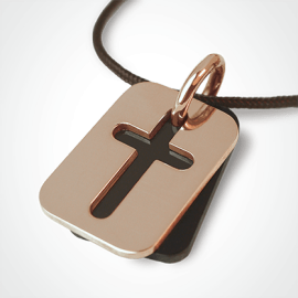 HALLELUJAH pendant in 750 pink gold and natural horn by the jewellery collection for children MIKADO.