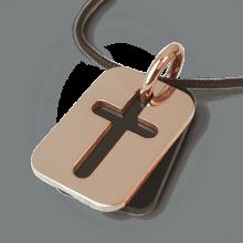 Médaille de baptême HALLELUJAH en or rose 750 millièmes, corne naturelle et cordon chocolat de la collection MIKADO.