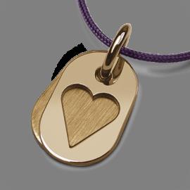 Medalla de bautismo CORAZÓN en oro amarillo 750 milésimas y cordón azul vaquero de la colección de joyas para niños MIKADO.