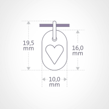 Dimensions of the CORAZON pendant by the jewellery collection for children MIKADO.