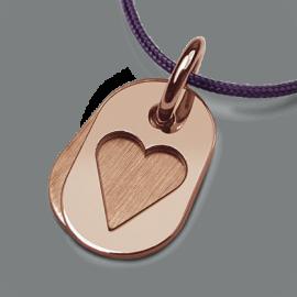 Medalla de bautismo CORAZÓN en oro rosa 750 milésimas y cordón púrpura de la colección de joyas para niños MIKADO.