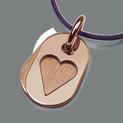 Médaille de baptême CORAZON en or rose 750 millièmes et cordon violette de la collection de bijoux pour enfants MIKADO.