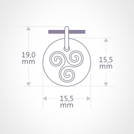 Dimensiones de la medalla TRISKEL de la colección de joyería infantil MIKADO.
