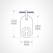 Dimensions du pendentif WOODSTOCK de la collection de bijoux pour enfants MIKADO.